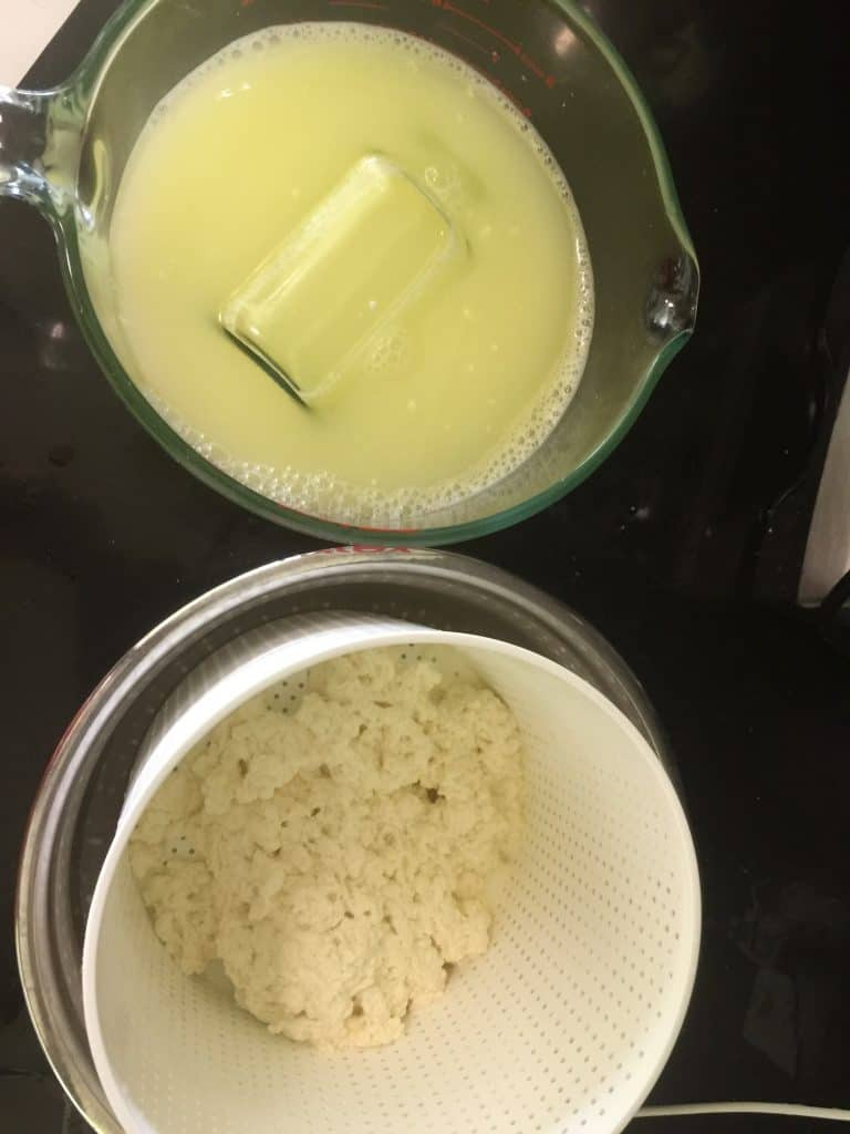 homemade-cheese-whey-curds-separated