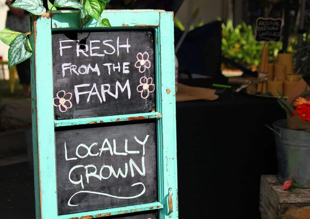Sign at a local farmer's market - small business