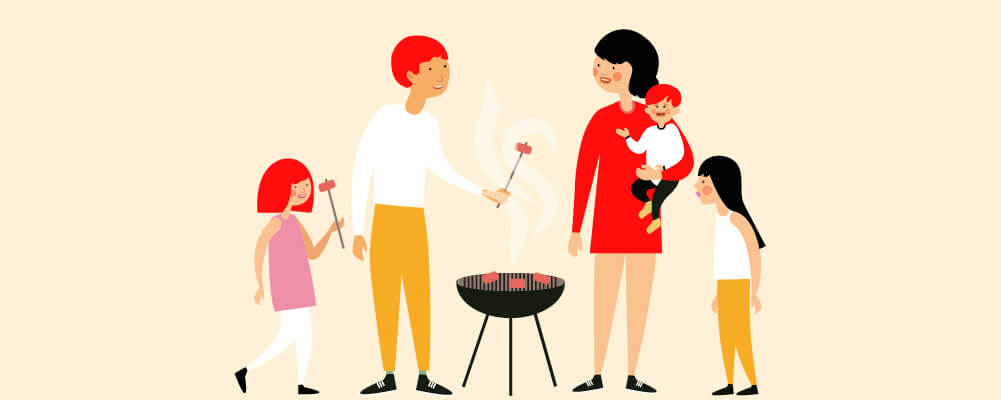 BBQ party of a family