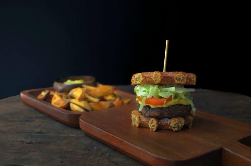 Black-Bean-Waffle-Burger-with-Sweet-Potato-Fries