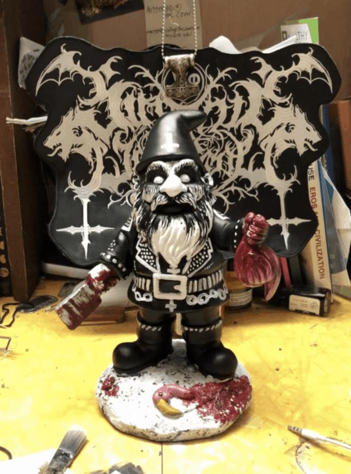 black metal lawn gnome