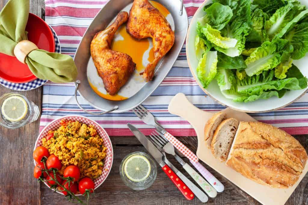 Grilled chicken and salads