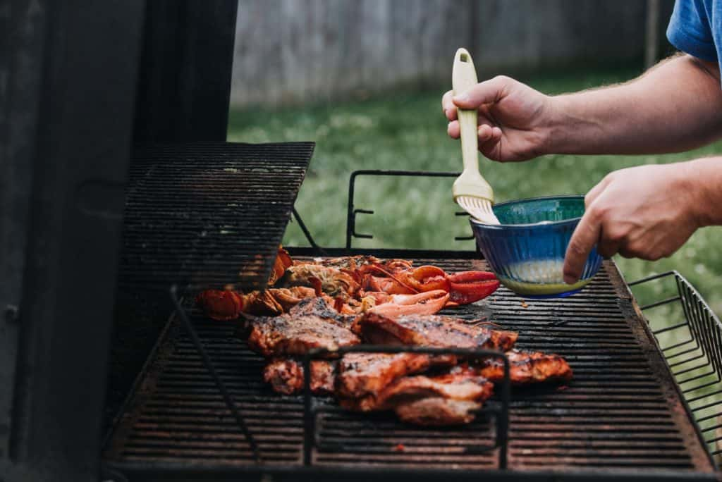 grilling-Lobster-on-grill-in-backyard