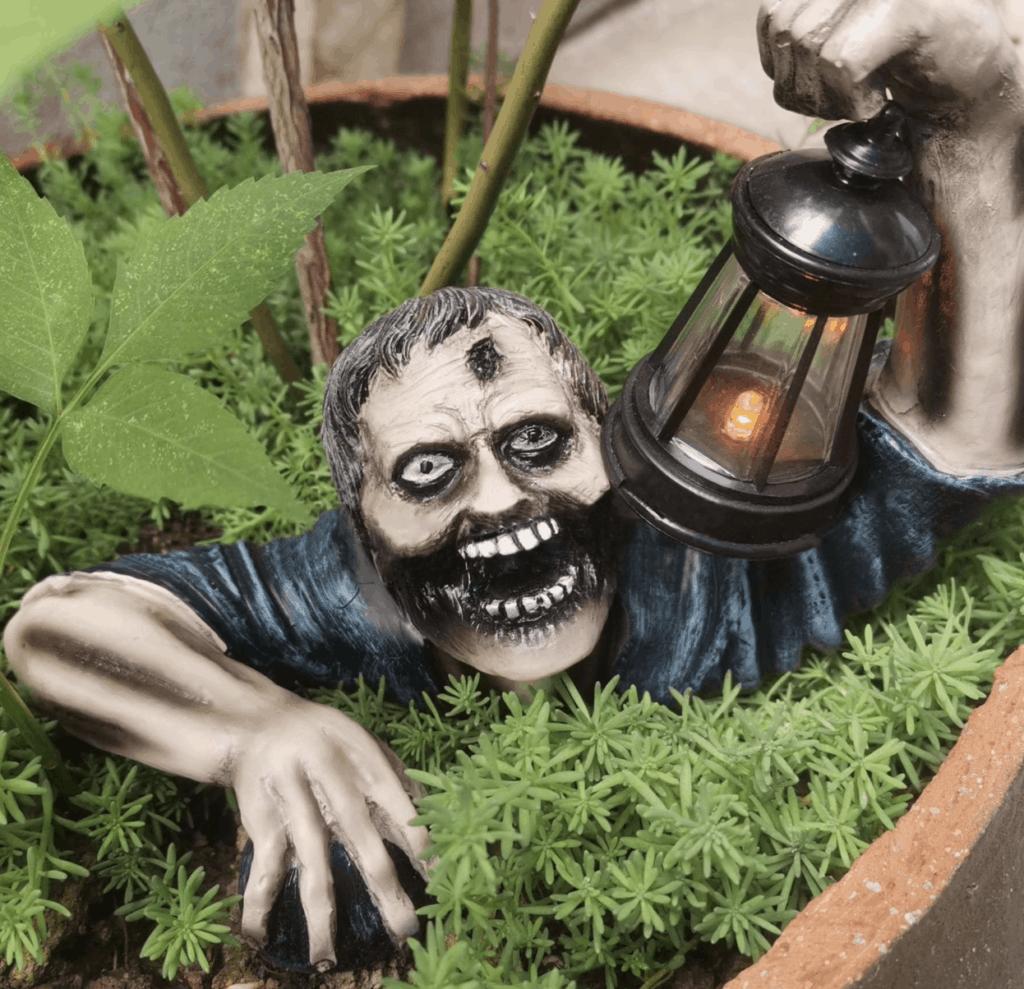 zombie creepy garden gnome halloween with light