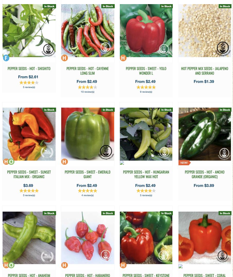Pepper Seeds at True Leaf Market