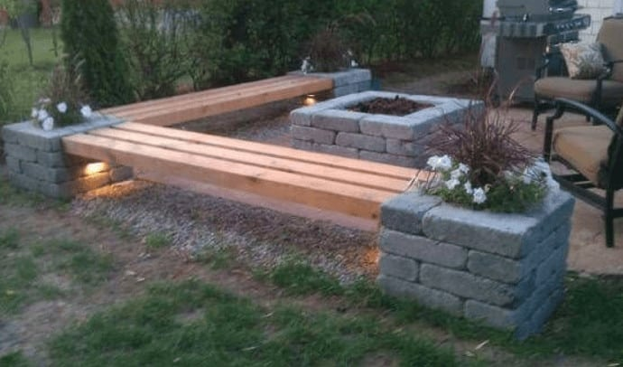 cinder block fire pit and benches