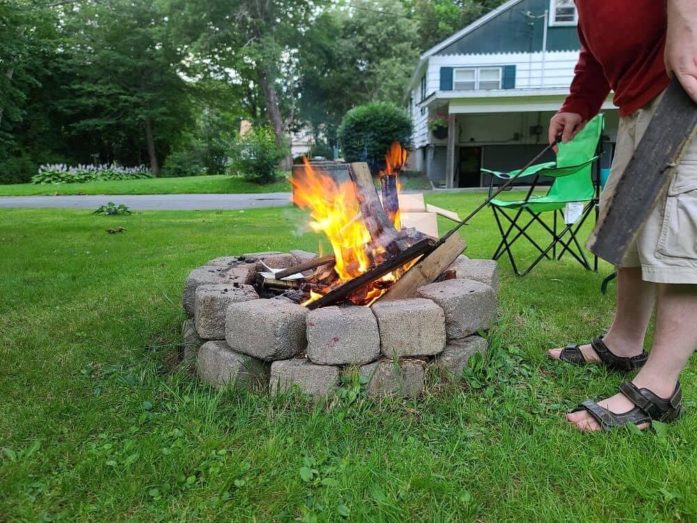 cinder block fire pit front yard