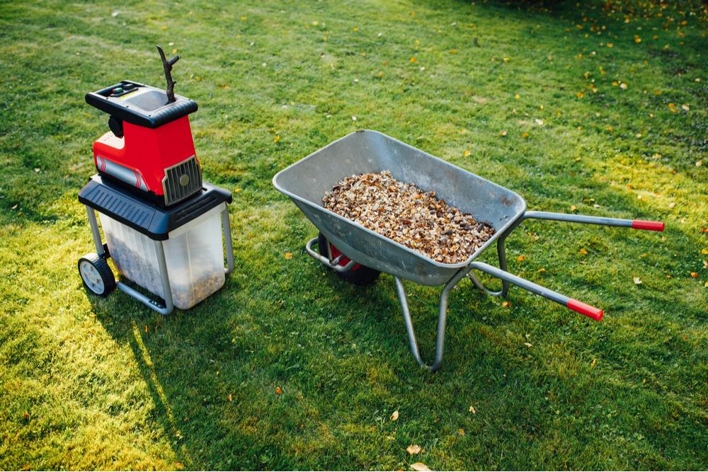 electric compost shredder with shredded garden mulch