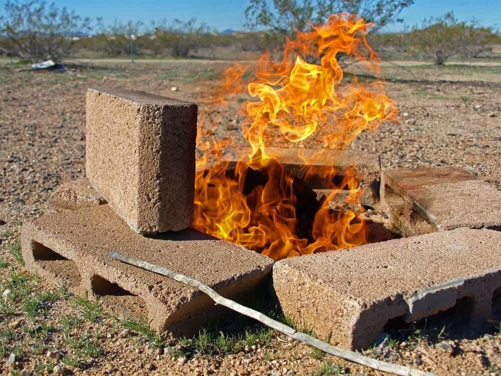 low profile cinder block pit fire