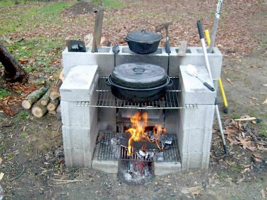 portable outdoor cooking station cinder block fire pit