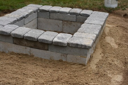 stone topped cinder block fire pit